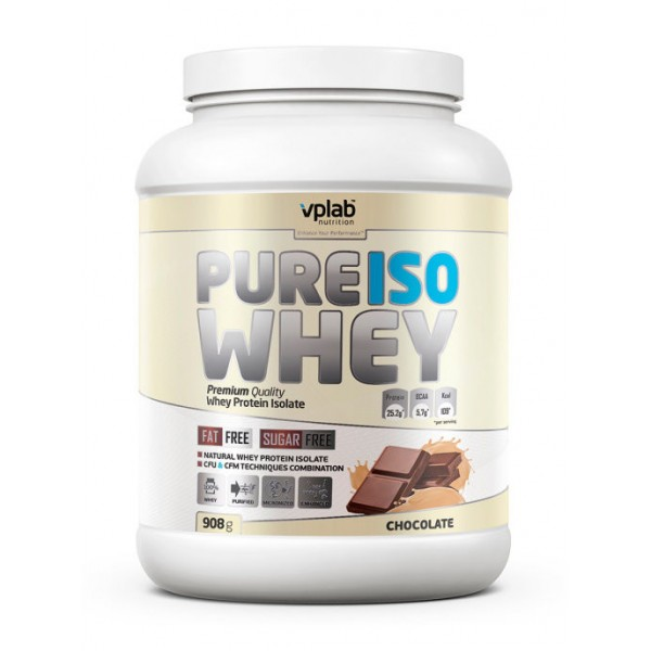 Сывороточный изолят VPLAB Pure Iso Whey, 908 г, Шоколад